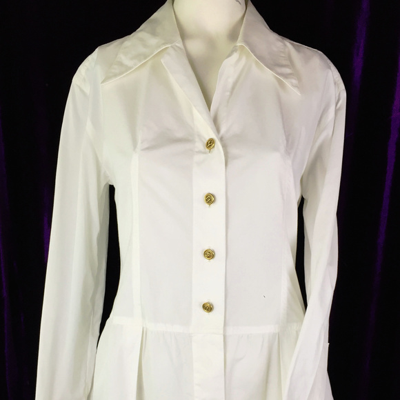 CHANEL Dresses & Skirts - 36 Auth Chanel Boyfriend Shirt Dress CC Tunic